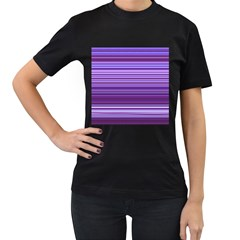 Stripe Colorful Background Women s T-Shirt (Black) (Two Sided)