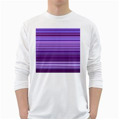 Stripe Colorful Background White Long Sleeve T Shirts