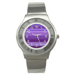 Stripe Colorful Background Stainless Steel Watch