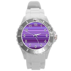 Stripe Colorful Background Round Plastic Sport Watch (L)