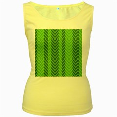 Green Herringbone Pattern Background Wallpaper Women s Yellow Tank Top