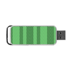 Green Herringbone Pattern Background Wallpaper Portable USB Flash (Two Sides)