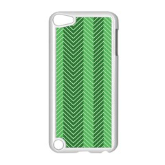 Green Herringbone Pattern Background Wallpaper Apple iPod Touch 5 Case (White)
