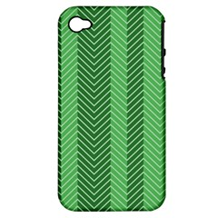 Green Herringbone Pattern Background Wallpaper Apple iPhone 4/4S Hardshell Case (PC+Silicone)