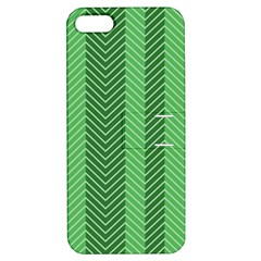 Green Herringbone Pattern Background Wallpaper Apple iPhone 5 Hardshell Case with Stand