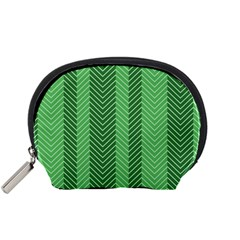 Green Herringbone Pattern Background Wallpaper Accessory Pouches (Small)