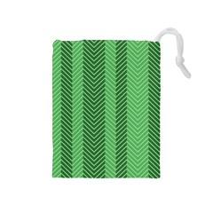 Green Herringbone Pattern Background Wallpaper Drawstring Pouches (medium)