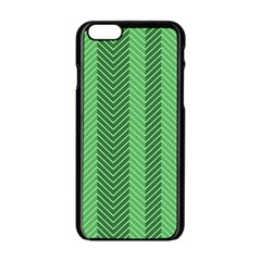 Green Herringbone Pattern Background Wallpaper Apple Iphone 6/6s Black Enamel Case