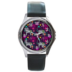 Colorful Elephants Love Background Round Metal Watch