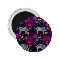 Colorful Elephants Love Background 2.25  Magnets
