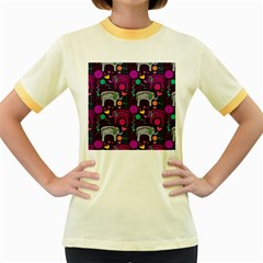 Colorful Elephants Love Background Women s Fitted Ringer T-Shirts