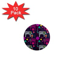 Colorful Elephants Love Background 1  Mini Magnet (10 Pack)