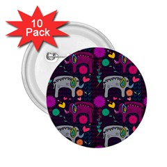 Colorful Elephants Love Background 2 25  Buttons (10 Pack)
