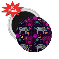 Colorful Elephants Love Background 2.25  Magnets (10 pack)