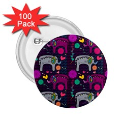 Colorful Elephants Love Background 2 25  Buttons (100 Pack)