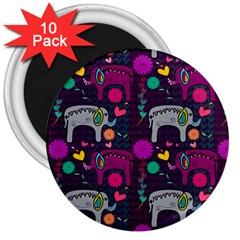 Colorful Elephants Love Background 3  Magnets (10 Pack)