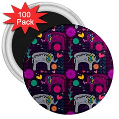 Colorful Elephants Love Background 3  Magnets (100 Pack)
