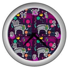 Colorful Elephants Love Background Wall Clocks (silver)