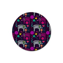 Colorful Elephants Love Background Rubber Coaster (Round)