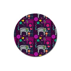 Colorful Elephants Love Background Magnet 3  (Round)