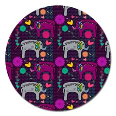 Colorful Elephants Love Background Magnet 5  (round)
