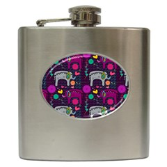 Colorful Elephants Love Background Hip Flask (6 oz)