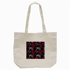 Colorful Elephants Love Background Tote Bag (Cream)