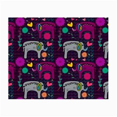 Colorful Elephants Love Background Small Glasses Cloth