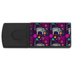 Colorful Elephants Love Background Usb Flash Drive Rectangular (4 Gb)