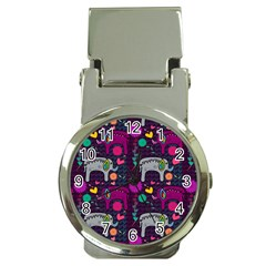 Colorful Elephants Love Background Money Clip Watches