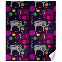 Colorful Elephants Love Background Canvas 20  X 24