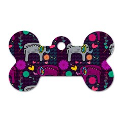 Colorful Elephants Love Background Dog Tag Bone (two Sides)