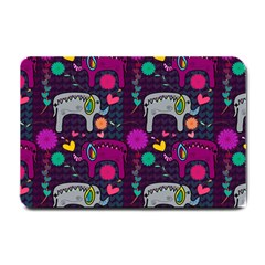 Colorful Elephants Love Background Small Doormat