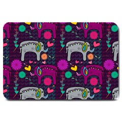 Colorful Elephants Love Background Large Doormat