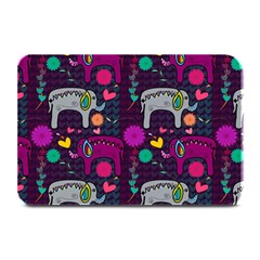 Colorful Elephants Love Background Plate Mats
