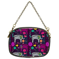 Colorful Elephants Love Background Chain Purses (two Sides)