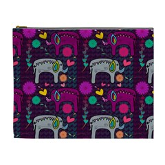Colorful Elephants Love Background Cosmetic Bag (XL)