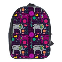 Colorful Elephants Love Background School Bags(Large)