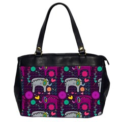 Colorful Elephants Love Background Office Handbags (2 Sides)