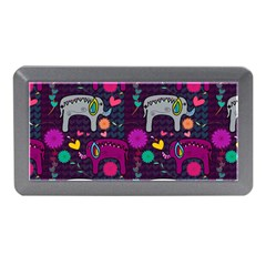 Colorful Elephants Love Background Memory Card Reader (Mini)