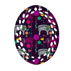 Colorful Elephants Love Background Oval Filigree Ornament (two Sides)