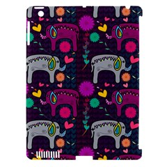 Colorful Elephants Love Background Apple iPad 3/4 Hardshell Case (Compatible with Smart Cover)