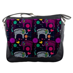 Colorful Elephants Love Background Messenger Bags