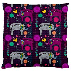 Colorful Elephants Love Background Large Cushion Case (two Sides)