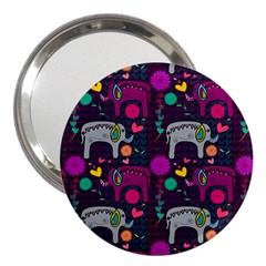 Colorful Elephants Love Background 3  Handbag Mirrors