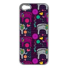 Colorful Elephants Love Background Apple iPhone 5 Case (Silver)