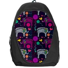 Colorful Elephants Love Background Backpack Bag