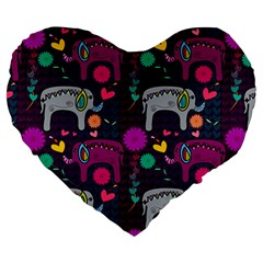 Colorful Elephants Love Background Large 19  Premium Heart Shape Cushions