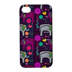 Colorful Elephants Love Background Apple iPhone 4/4S Hardshell Case with Stand