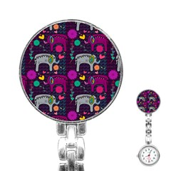 Colorful Elephants Love Background Stainless Steel Nurses Watch